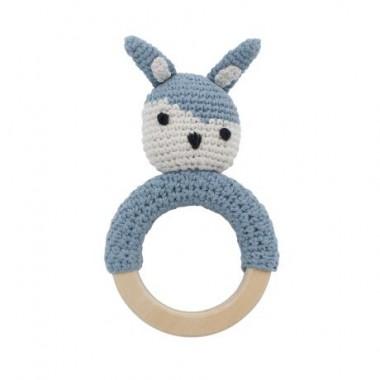 hochet en crochet lapin - Bleu