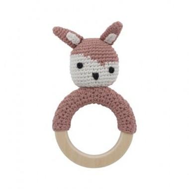 Hochet en crochet lapin - Rose