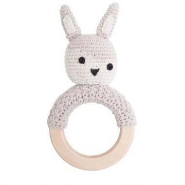 Hochet crochet lapin gris
