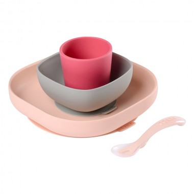 SET VAISSELLE SILICONE ROSE