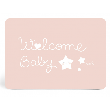 Carte Welcome Baby Rose -...