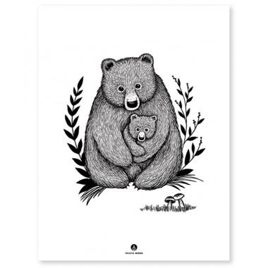 Affiche Maman et bébé ours
