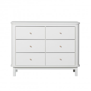 Commode Wood 6 tiroirs - Blanc