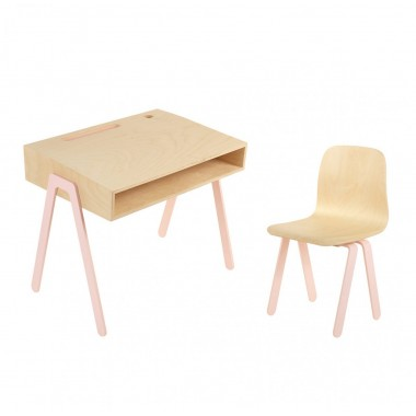 Bureau + chaise In2wood - Rose