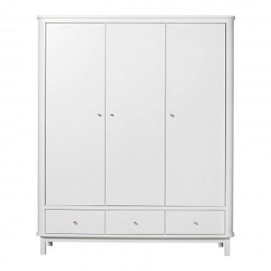 Armoire Wood 3 portes - Blanc